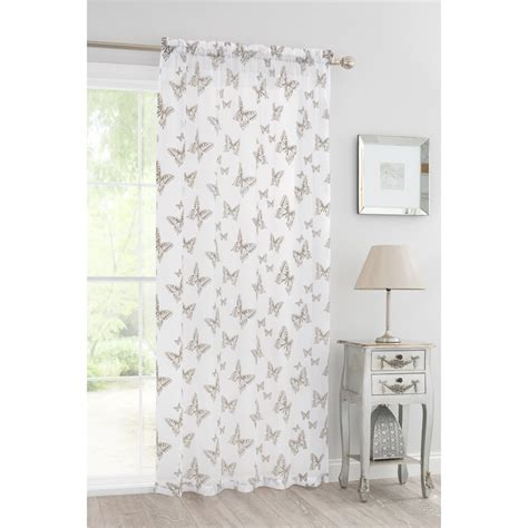 grey voile curtains uk butterfly flock voile curtain 140 x 222cm grey home decor