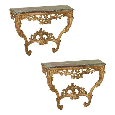 xv console pair of 18th century louis xv giltwood console tables for
