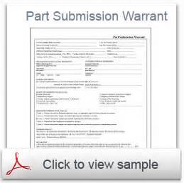 part warrant template ppap software part warrant psw qa