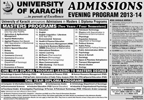 Mba Evening Program In Karachi by Uok Admissions 2013 2014 Evening Program Masters Programs