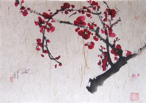 cherry blossom grasses moon and plum blossom painting sumi e painting everett artist s supply and framing blog