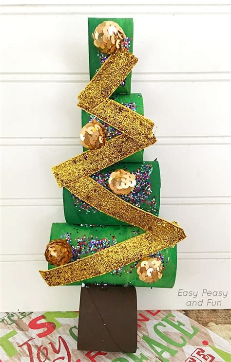 paper christmas treecraft paper roll tree craft easy peasy and