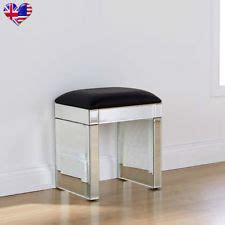 Mirrored Stool With White Seat Pad by Glass Dressing Table Stool Ebay