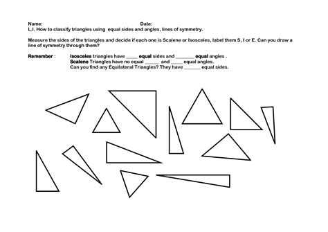 isosceles triangle worksheet 7 best images of triangle classification worksheet classifying triangles by angles worksheet