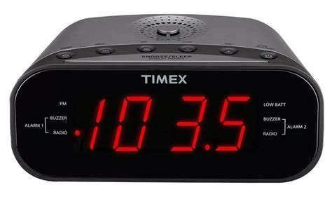 timex dual alarm clock with am fm radio manufacturer refurbished groupon