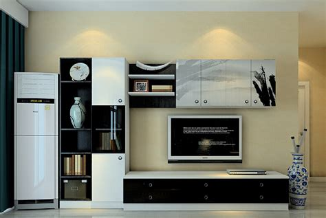 Simple Living Room Designs 3d black and white tv cabinet modern minimalist style 3d