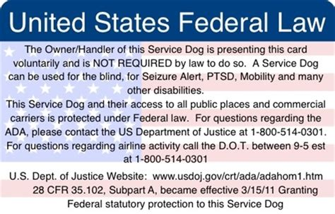 Federal Gift Card Law - ada federal law information card service dog supplies