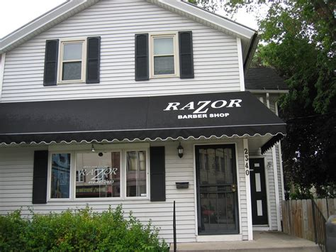 Black Awnings homestyle custom upholstery and awning black awnings on razor barber shop