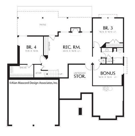 house plans with walkout basement one story mascord house plan 1201j the dawson