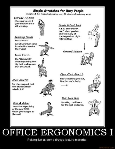 ergonomics poster for office desk exercises hacks