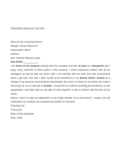 Transfer Request Letter For Employee Transfer Request Letter Free Word Pdf Documents