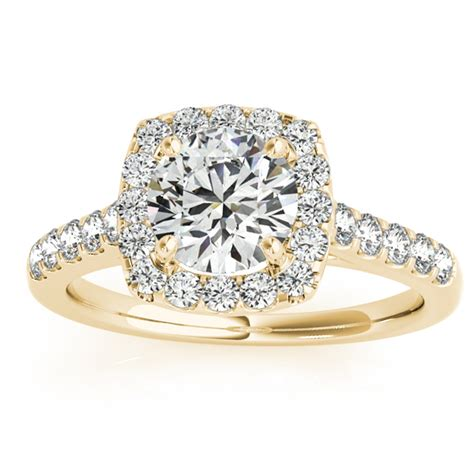 halo square engagement ring 14k yellow gold 0