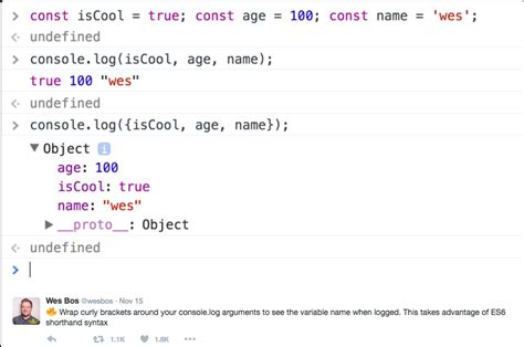 console log console log logs variable names exle