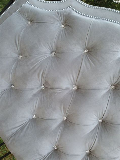 tufted headboard gray velvet king queen full twin rhinestone button nailheads   order
