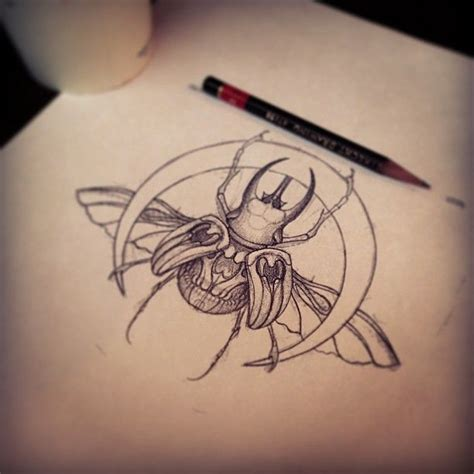 beetle tattoo bug design flash beetle