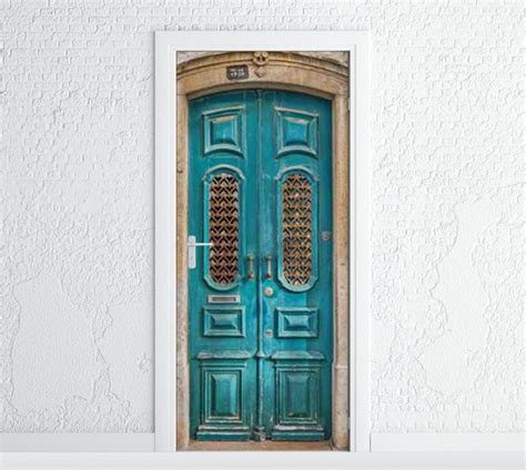 Door Decal by Door Sticker Turquoise Wooden Door Self Adhesive Vinyl