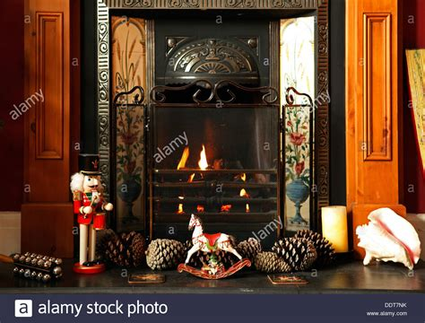 fireplace nutcracker fireplace with rocking pine cones nutcracker stock photo royalty free image