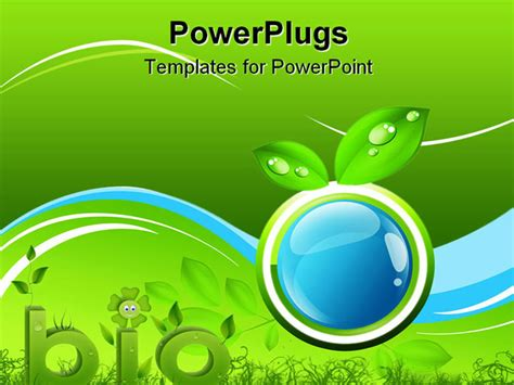 microsoft powerpoint themes biology blue button and leaves bio and eco concept powerpoint