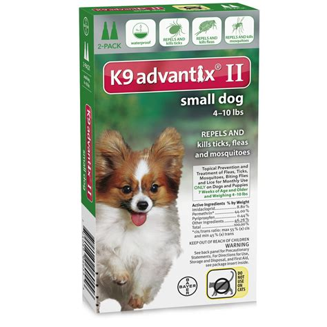 dogs 10 pounds 2 month k9 advantix ii green small for dogs up to 10 lbs