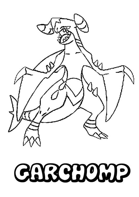Mega Garchomp Free Colouring Pages Garchomp Coloring Pages