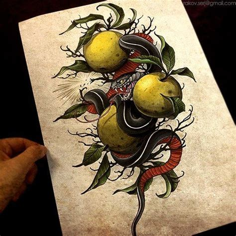 snake and apple tattoo designs snake apple design designs flashes