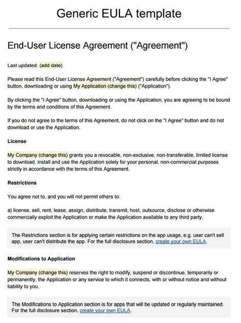 user agreement template sle eula template termsfeed