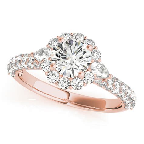 Side Accent Halo Ring 1216 flower halo pear accents engagement ring 14k