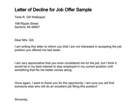 Business Letter Declining Proposal pin job decline letter sample sample letter declining a job interview