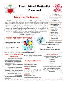 march newsletter template best photos of february preschool newsletter sles