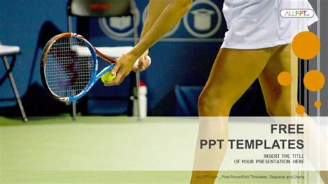 Young Female Tennis Player Sports Powerpoint Templates Tennis Powerpoint Template