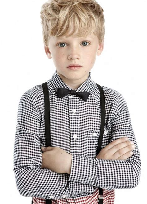 how should an 11year boys hair look like black suspenders bow tie with plaid checkered shirt for