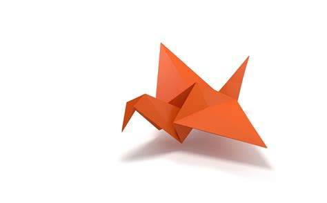 Origami Flying Crane - free illustration origami folding paper bird flying