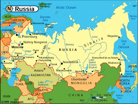 russia map showing cities russia and asia outline printable map with country borders