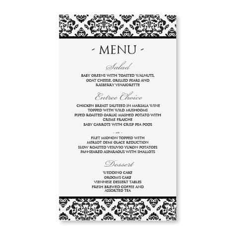 diy menu template diy menu card template instant by diyweddingtemplates