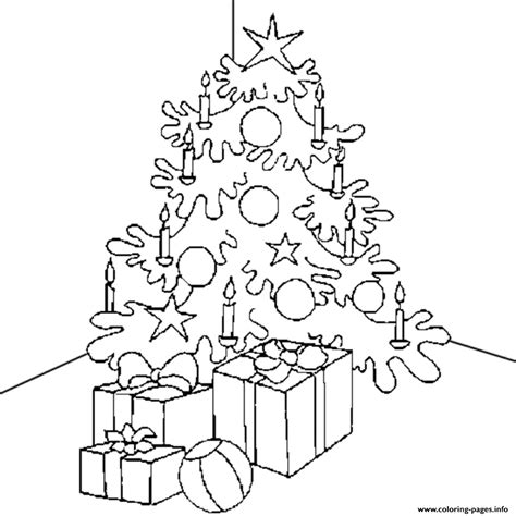 Presents Candle And Christmas Tree S For Kids Tree With Candles Coloring Page