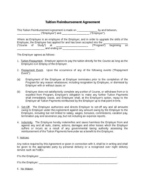 reimbursement agreement template tuition reimbursement agreement hashdoc