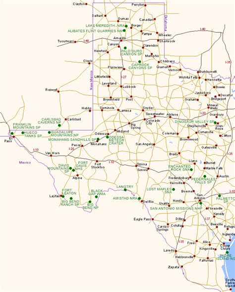 west texas cities map map of texas national parks and other scenic areas