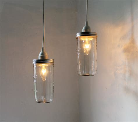 How To Make A Pendant Light Fixture Jar Pendant Lights Set Of 2 Hanging Jar Pendants