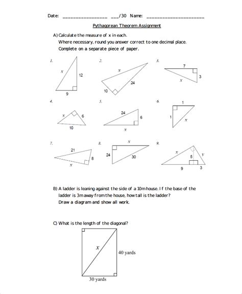 The Pythagorean Theorem Worksheet Answers by Sle Pythagorean Theorem Worksheet 9 Free Documents