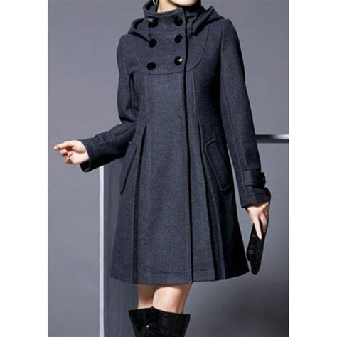sleeve breasted coat breasted hooded collar sleeve coat