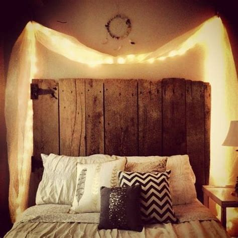 cute headboard ideas cute lights wood board chevron pillows home ideas