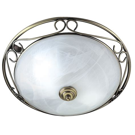 Searchlight 6436 Flush 2 Light Antique Brass Flush Flush Ceiling Lights Brass