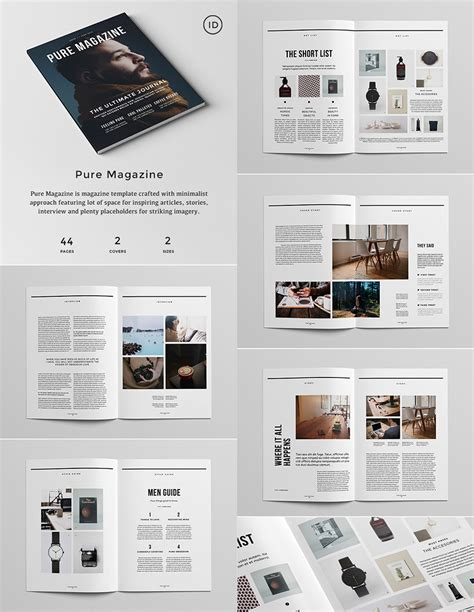 design journal template pure magazine indesign template graphics pinterest