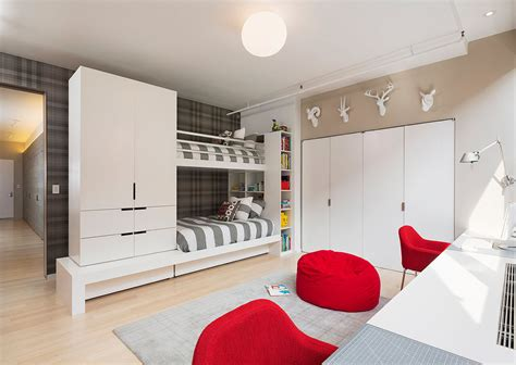 modern toddler furniture bunk beds and white cabinet with