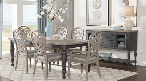 rooms to go dining sets cindy crawford home coastal breeze charcoal 5 pc rectangle