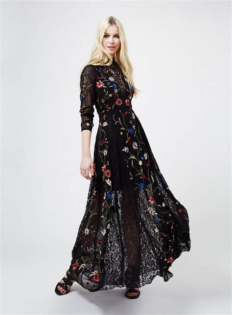 Sleeve Embroidery Dress black embroidered maxi dress maxi dresses dress shop