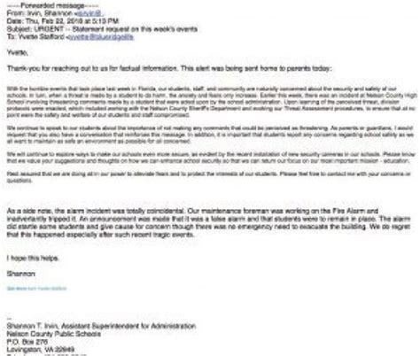 sample letter responding to false allegations lovingston nelson assistant superintendent confirms to 153   2.22.18 asst super email on threat 300x255