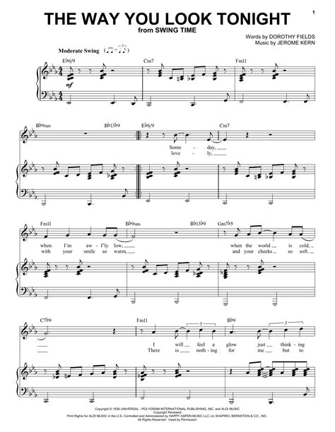 strumming pattern for you look wonderful tonight the way you look tonight sheet music by frank sinatra