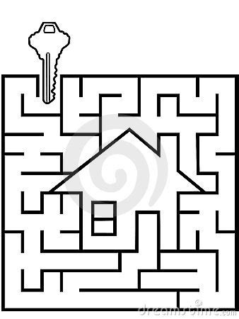 home finder maze puzzle with house key royalty free stock