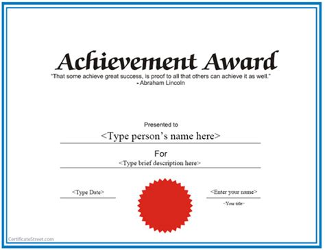 achievement award certificate template special certificates achievement award certificate